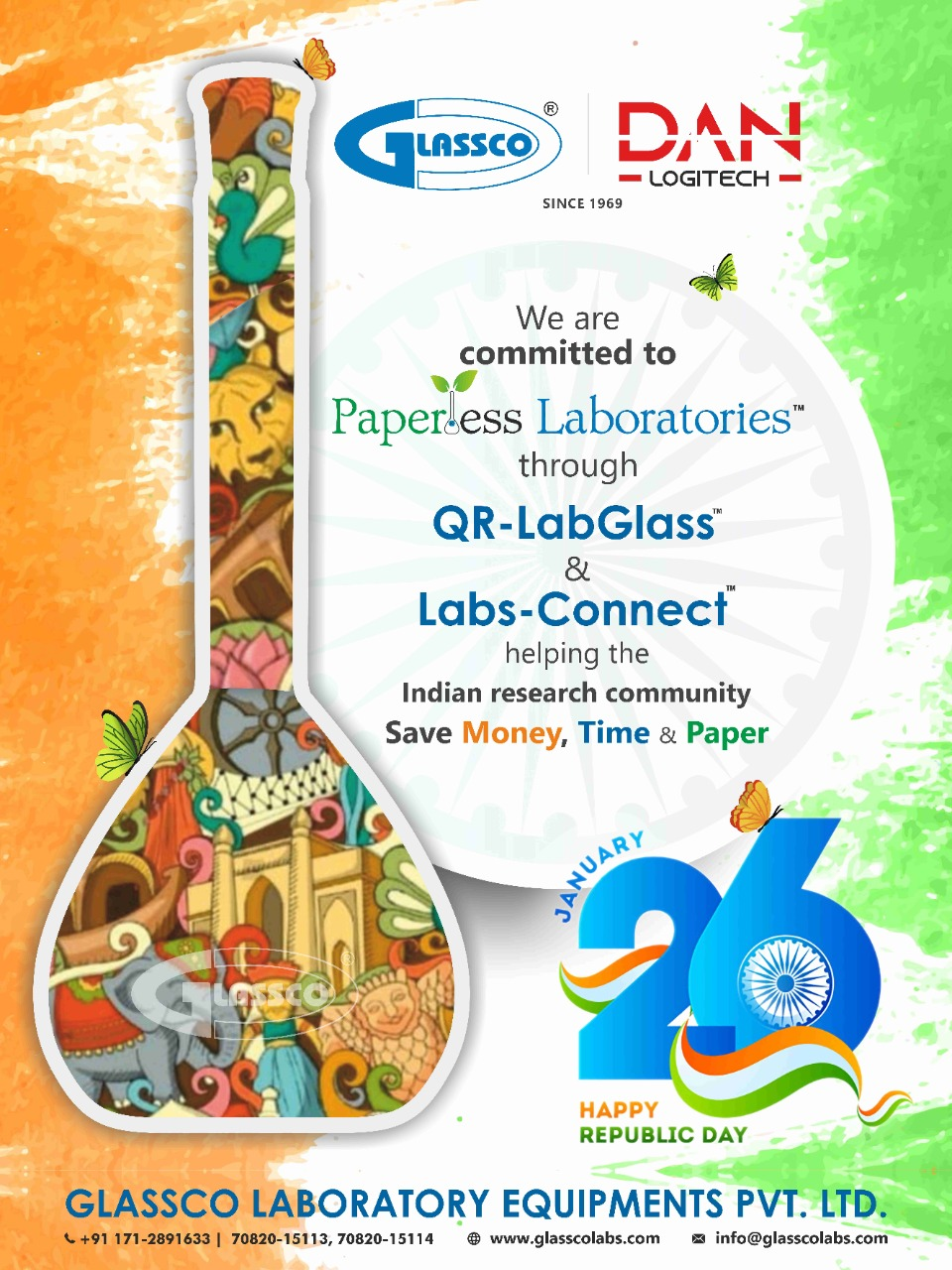 Wishing You All Very Happy Republic Day. #glassco #glasscolabs #paperlesslaboratories #qrlabglass #labglassware #borosilicate #labglass #bestlabglass #india #republicday2020 #republicday #labsconnect #Danlogitech #savemoney #savepaper #saveplanet #savetime #researchanddevelopment #researchcommunity #indian #wishing