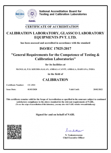 ISO 17025-2017 scope of accreditation in field of calibration